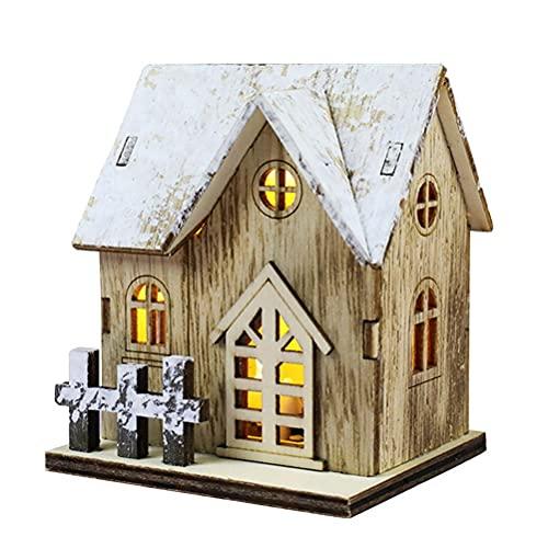 DUCUT Mini villaggio di Natale, città di Natale, con illuminazione, casetta in legno illuminata, decorazione da desktop, per uffici e negozi