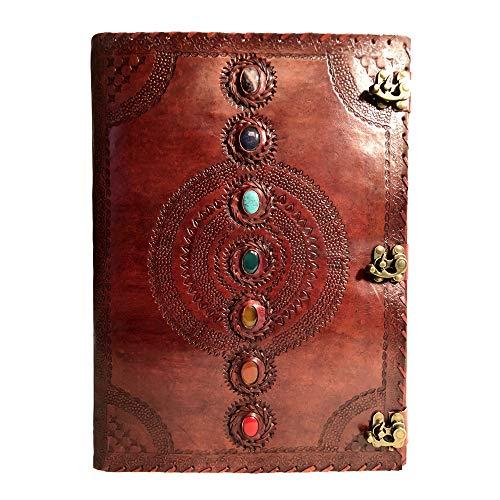 Diario de piel con relieve de siete chakras, hecho a mano, de piel, libro de sombras, cuaderno de oficina, libro universitario, libro de poesía, libro de dibujo de 14 x 22 pulgadas
