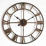 October Elf Reloj de Pared con Números Romanos 40 cm Vintage Silenciosos Reloj de Esqueleto de Metal No se Hace Tictac Sala de Estar Café Hotel Oficina Decoración para el Hogar Regalo (Bronce)
