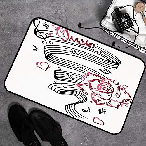 Microfaser Badematte ,antirutschfest Badeteppich,Dekor, Bleistiftzeichnung romantische Sanduhr Symbol der ewigen Liebe mit Rosen drucken, schwarz und ,Badvorleger mit Memory Schaum waschbar 45x75 cm