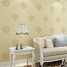 Reyqing Style européen papier peint intissé, 3d de Damas papier peint, fond, minimaliste moderne Mur, chambre à coucher, salon, En216–6Gris clair, papier peint seulement
