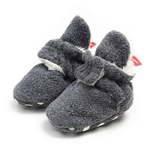 TMEOG Unisex-Baby Neugeborenes Fleece Booties Bio Baumwoll-Futter und rutschfeste Greifer Winterschuhe (0-6 Monate, A_Grau)
