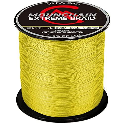 Mounchain Sedal trenzado 8 trenzado, 300 m, color amarillo, 0,12 mm - 10 lb)