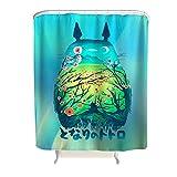 XHJQ88 Duschvorhang Retro Flower-Totoro Muster Theme Polyester - Green Badvorhang Hotelqualität für Badewanne White 180x200cm