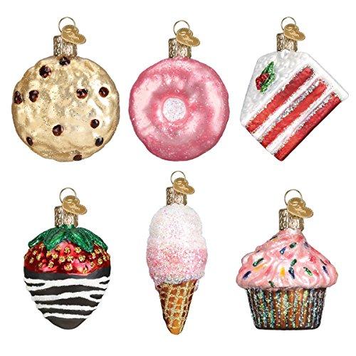 Old World Christmas Glass Blown Ornaments for Christmas Tree, Mini Dessert Set