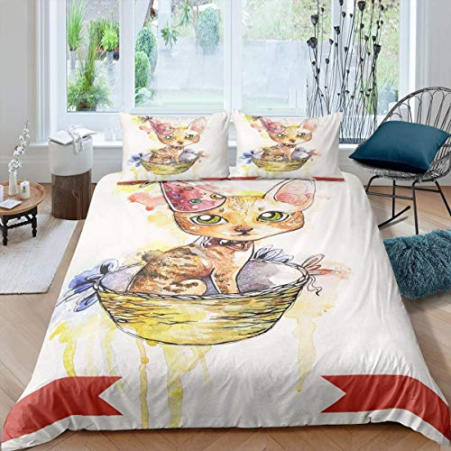 Loussiesd Animals Comforter Cover Set for Girly Girls Kids Nursery,Cute Cat Bedding Duvet Cover Set,Oil Painting Watercolor Child Fairy Tale Theme Bedroom,Decor 3 Pcs King Size