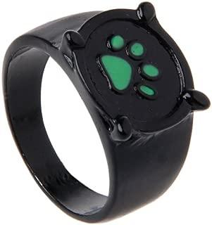 Forgun Miraculous Ladybug Cat Noir Cartoon Green Pawprint Black Cat Ring for Cosplay