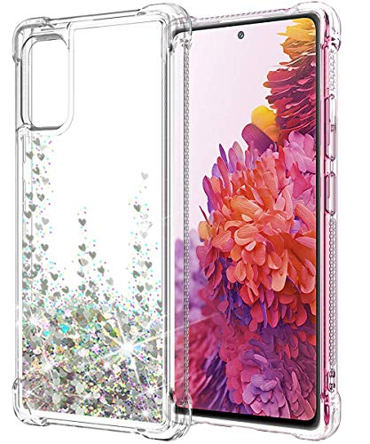 SunStory Compatible with Galaxy S20 FE Case Glitter Clear (Not Fit Samsung S20), Galaxy S20 FE 5G Case with Anti-Fall Angle and Moving Shiny Quicksand Cover for Samsung S20 FE 5G (Silver)