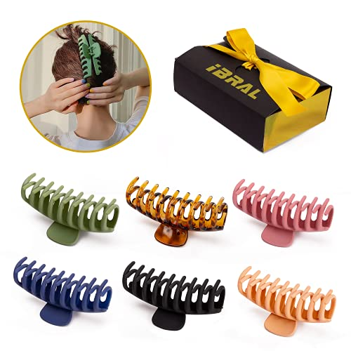 IBRAL 6 PCS Assorted HAIR CLAW CLIPS 4.33 Inch| Smudge Free Matt Finish Clips | Premium GIFT PACK | Strong Hold Matte Hair Clips for Thin and thick Hair, 6 Colorful Banana Hair Accessories,(6 Colors Available)