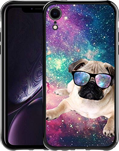 SaiCase Soft TPU Case for iPhone XR - Galaxy Flying Pug Dog Bumper Case Back Cover