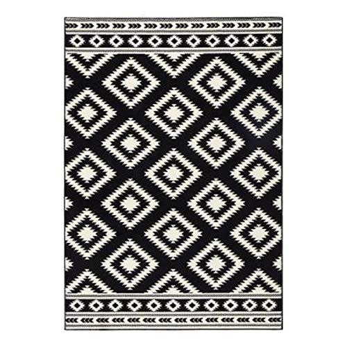 Bavaria Home Style Collection Designer Teppich Wohnzimmer Teppiche Ethno Raute Look Stil Design Optik grau-Creme-schwarz-Koralle-rot-grau 160 x 230 cm (schwarz-Creme)