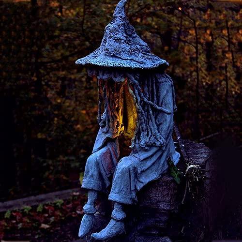 Hell messenger con linterna, lámpara de bruja ghoul decoración de jardín adornos de resina decoración de jardín de Halloween escultura de fantasma (B)