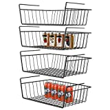 Under Shelf Basket, GSlife 4 Packs Under Shelf Storage Wire Basket Stable Hanging Basket for Kitchen, Office, Pantry, Bathroom, Cabinet,Black