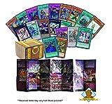 Yugioh Lot of 100 Cards - 90 Commons - 2 Secrets - 3 Rares - 5 Holo Super/Ultra Rares - 1 Playmat! Includes Golden Groundhog Treasure Chest Storage Box!