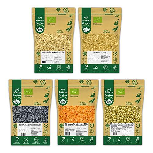 BIO Reis + BIO Hülsenfrüchte 5er SET | BIO Vollkorn Basmati Reis, BIO Amaranth, BIO Mungobohnen, BIO Masoor Rote Linsen, BIO Beluga Linsen | Dal, Linsen, Bohnen | 1,1 Kg