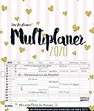 Multiplaner - Time for glamour 2020: Typo-Art Familienplaner, 7 breite Spalten. Schöner Familienkalender mit Ferienterminen, extra Spalte, Vorschau für 2021 und Herz-Datumsschieber. Format: 40x47 cm