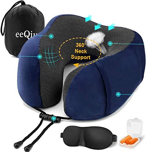 Reiskussen van eeQiu - Traagschuim Vluchtkussen & Comfortabel Hoofdkussen Nekkussen Speciaal ontworpen neksteun voor vliegtuig-, auto- en kantoorgebruik (Marine)