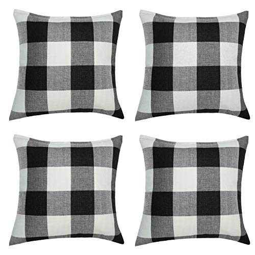 Aneco 4 Pack 18 × 18 Inch Pillow Cover Buffalo Plaid Black White Check Plaid Cushion Classic Tartan Linen Pillow Cover Sofa Bedroom Car