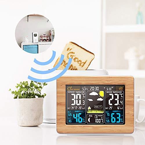 FORNORM Wetterstation mit Außensensor, Hintergrundbeleuchtung Funkwetterstation Innen und Außen ℃/℉, Datum, Wochenende/Mondphase/Täglicher Alarm/Schlummerfunktion, USB/Batteriebetrieben, Holz