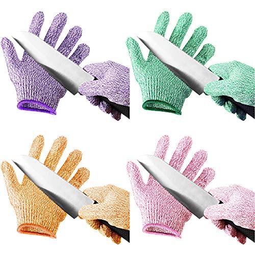 4 Pairs Kids Cut Resistant Gloves Level 5 Safe Gloves Protection for Kitchen Garden, Oyster Shucking, Crafts, DIY (Medium)