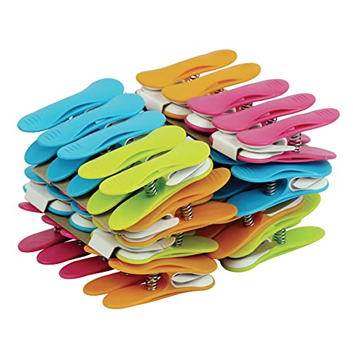 LAGUELLE - 40 Pinces Clips ANTIGLISSANTS - Fabrication Française - Assorties Vert, Bleu, Orange, Rose