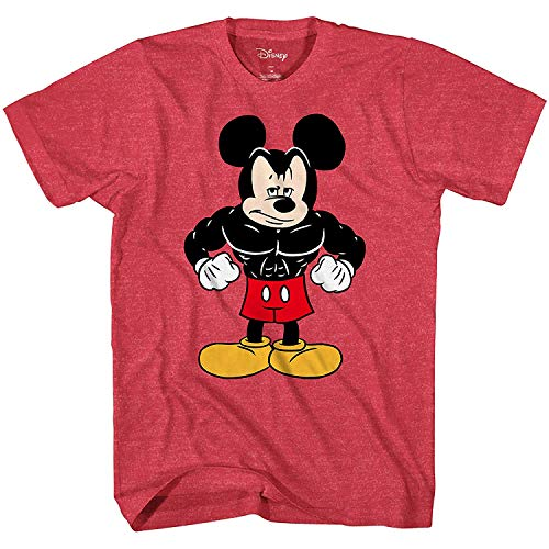 Disney Tough Mickey Mouse Men's Adult Graphic Tee T-Shirt (Red Heather, XX-Large)