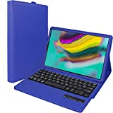 TECHGEAR Keyboard Case for New Samsung Galaxy Tab S5e 10.5' (SM-T720 / SM-T725) [Strike Folio] PU Leather Case with Built in Detachable Bluetooth Wireless UK QWERTY Keyboard and Stand (Blue)