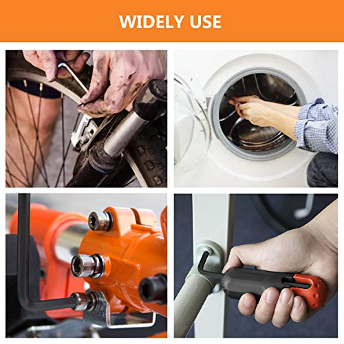 """31 PCS Allen Hex Key Wrench Set Torque Rod with Helping T-handle Inch/Metric Long Arm 0.028""""- 3/8"""" Short Arm 0.7-10mm with Portable Case URGENEX"""
