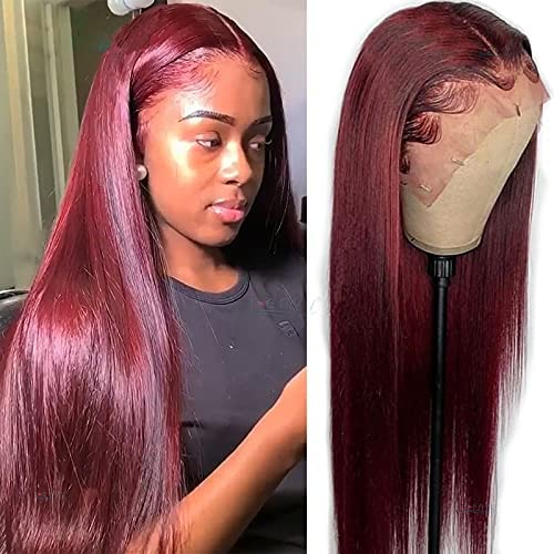 MMMRRTIME Fashion Colored Burgundy Lace Financial sales sale Hair St San Antonio Mall Front Human Wigs