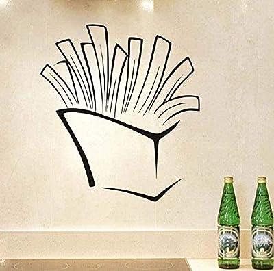 Autocollant mural en vinyle autocollant créatif frites Art autocollant creux cuisine Restaurant Bar décoration auto-adhésif 58 cm x 65 cm