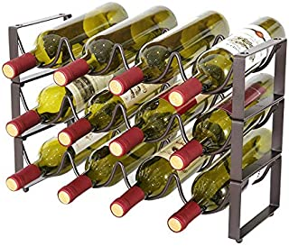 KLGO 3 Tier Stackable Wine Rack,Countertop Cabinet Wine Holder Storage Stand - Hold 12 Bottles,Countertop Free-Stand Wine Storage Holder, Space Saver Protector for Red & White Wines