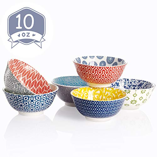 Amazingware Porcelain Bowls - 10 Ounce for Ice Cream Dessert, Small Side Dishes, Set of 6, Assorted Designs