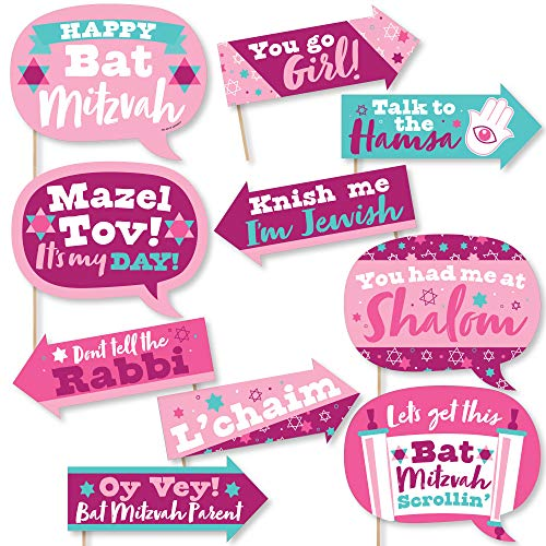 Big Dot of Happiness Funny Pink Bat Mitzvah – Girl Party Photo Booth Props Kit – 10 Piece
