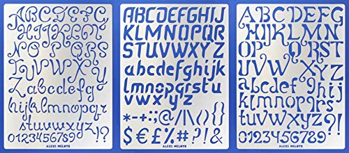 Aleks Melnyk #44 Plantillas Stencils de Metal para estarcir/Abecedario, Letters, Letras, Alfabeto, Numeros Grandes/para Arte...