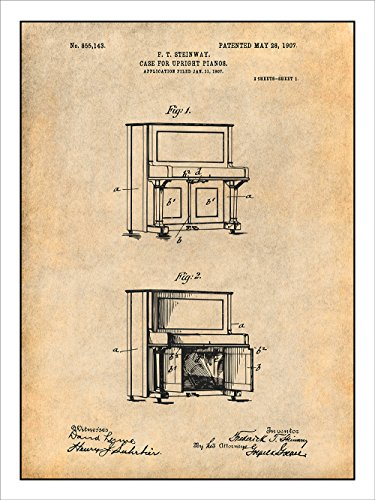 Studio 21 Graphix 1907 Steinway Upright Piano Patent Print Art Poster UNFRAMED Parchment 18