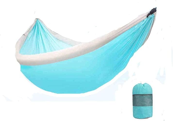 LSXLSD Camping Hammock-Portable-Outdoor, Randonnée, Sac à Dos, Voyager, Plage, Jardin-240cm (7.9foot) x173cm (5.7foot) -Bleu