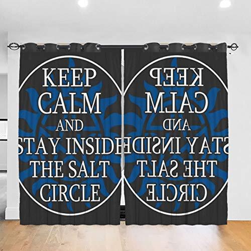 HONGYANW Personalisierte Verdunkelungsvorhänge Supernatural Keep Calm Salz Kreise Ösen Thermoisoliert Raum Verdunkelung Vorhang für Schlafzimmer Wohnzimmer 132,2 x 182,9 cm