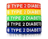 Ximi 5 Pcs Medical Alert Silicone Bracelets Wristband for Men Women,Type 2 Diabetes,7.5'