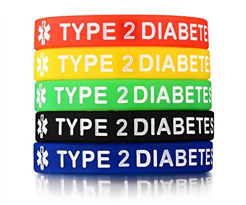 "Ximi 5 Pcs Medical Alert Silicone Bracelets Wristband for Men Women,Type 2 Diabetes,7.5"""