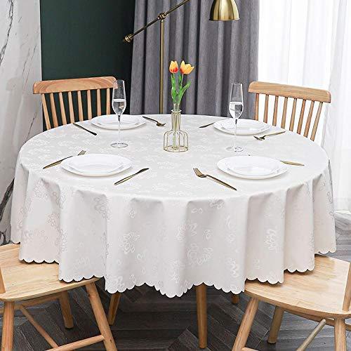 Yinaa Moderno Mantel Tipo Hule Encerado Rectangular Anti Escaldado Anti Rayado Resistente Al Desgaste Impermeable Elegante Círculo Blanco Cremoso Diámetro 160cm