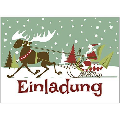 15 x Einladungskarten mit Umschlag zur Weihnachtsfeier/Motiv: Weihnachtsmann illustriert/Weihnachten/Christmas Party/Einladung/für Firmen