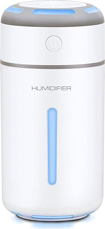 MADETEC Cool Mist Humidifier Ultrasonic Portable Mini USB Humidifier For Car Travel Office Baby Bedroom With 7 Colors Night Light And Auto Shut Off 230ML