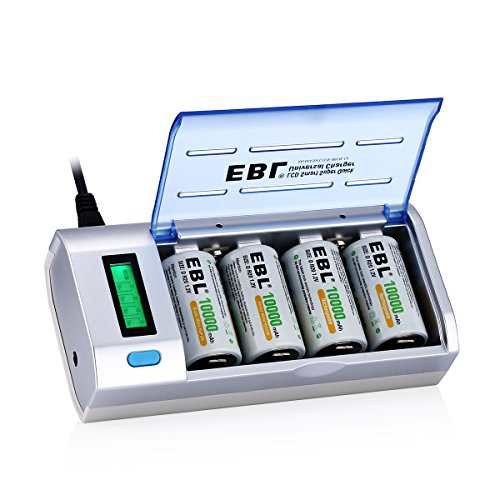 EBL LCD Universal Battery Charger and Discharger with 4 x Ni-MH...