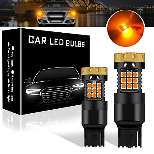 Teguangmei Turn Signal Light Bulbs, No Hyper Flash 1850Lumen 45SMD 7440 W21W WY21W T20 Front Rear Turn Signal Bulb Canbus Error Free Led Turn Signal Lights Amber Yellow Pack of 2