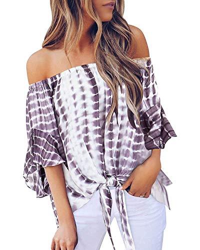ZANZEA Damen Schulterfrei Kurzarm Blusen Asymmetrisch Blumen T-Shirt Oversize Lose Tops W1-Lila Large