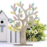 valery madelyn spring wood decorazione per tavola di pasqua 38cm forma di albero con gufi decorazione per pasqua e decorazione del giardino blu e rosa imballaggio multiplo