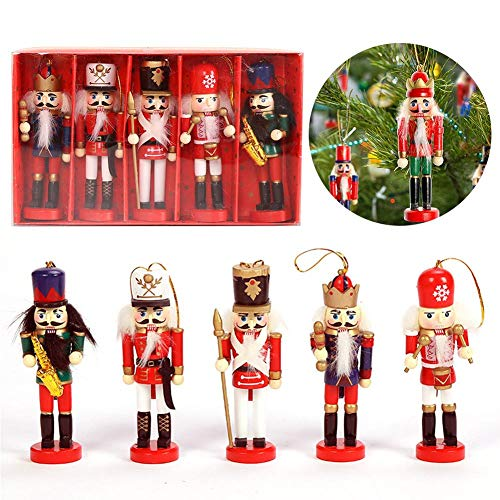 MODGS 5PCS Nussknacker Ornament Set Holz Nussknacker Figuren Hängende Ornamente Für Weihnachtsbaum Figuren Puppenspielzeug Geschenke