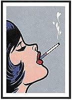 漫画のキャンバスの絵画ファッションスタイル悪い女の子喫煙画像抽象的な壁アートプリントセクシーなポスターモダンな家の装飾の写真40x60cmフレームなし