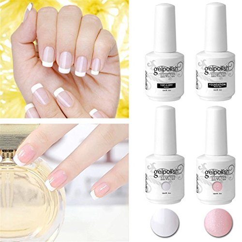 Elite99 French nails design nagellak, UV-set nagellak, witte en roze gellak, toplaag basislak, French nail manicure, UV-gel nagellak 15ml en 4 French tip guide