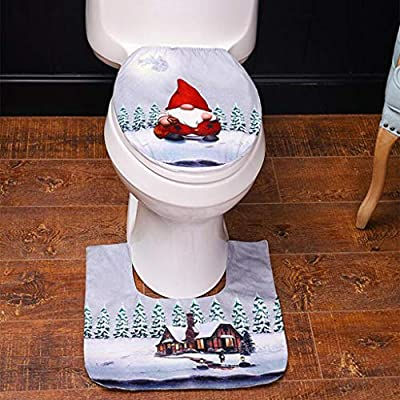 Cute 3D Nose Santa Toilet Seat Cover Funny Christmas Decorations Bathroom Toilet Seat and Tank Cover Set of 2 (Gray faceless old man)